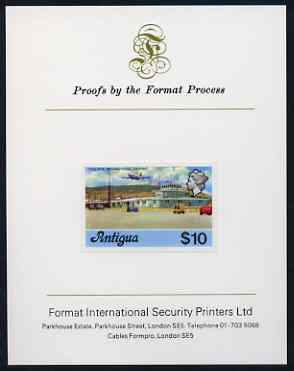 Antigua 1976 Coolidge Airport $10 (without imprint) imperf proof mounted on Format International proof card (as SG 486A)