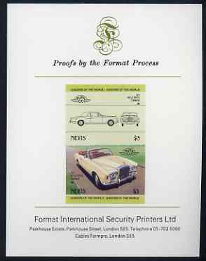 Nevis 1985 $3 Rolls Royce Corniche (1971) imperf se-tenant proof pair mounted on Format International proof card (as SG 263a)