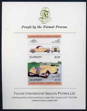 St Vincent 1983 $1.50 Citroen Tourer (1937) imperf se-tenant proof pair mounted on Format International proof card (as SG 731a)