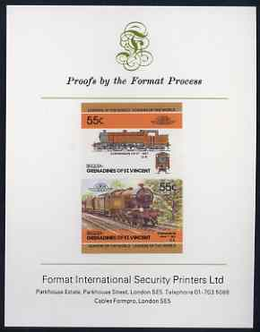 St Vincent - Bequia 55c Stephenson (4-6-4T) imperf se-tenant proof pair mounted on Format International proof card