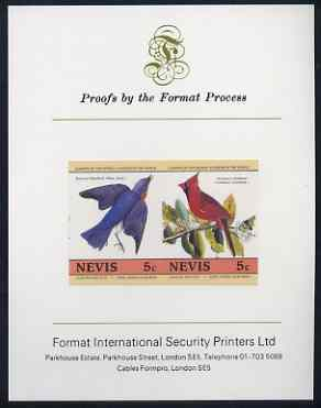 Nevis 1985 Bluebird & Cardinal (John Audubon 5c) imperf se-tenant proof pair mounted on Format International proof card (as SG 269a)