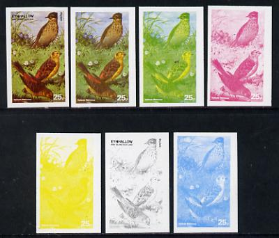 Eynhallow 1977 Birds #01 Yellow Hammer 25p set of 7 imperf progressive colour proofs comprising the 4 individual colours plus 2, 3 and all 4-colour composites unmounted mint