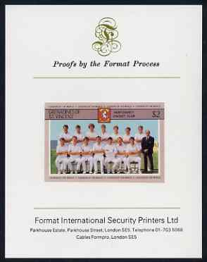 St Vincent - Grenadines 1985 Cricketers #3 - $2 Kent Team - imperf proof mounted on Format International proof card (as SG 368)