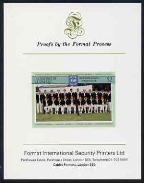 St Vincent - Grenadines 1985 Cricketers #3 - $2 Yorkshire Team - imperf proof mounted on Format International proof card (as SG 369)