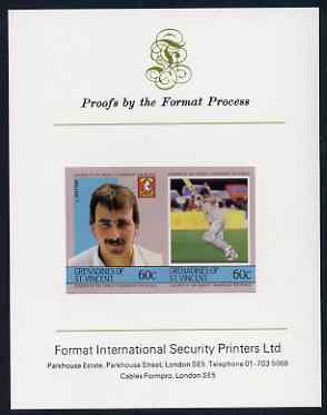 St Vincent - Grenadines 1985 Cricketers #3 - 60c L Potter - imperf se-tenant proof pair mounted on Format International proof card (as SG 366a)