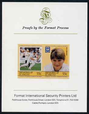 St Vincent - Grenadines 1985 Cricketers #3 - 55c M D Moxon - imperf se-tenant proof pair mounted on Format International proof card (as SG 364a)