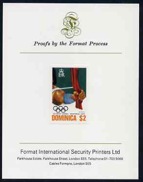 Dominica 1976 Olympic Games $2 (Archery) imperf proof mounted on Format International proof card (as SG 521)