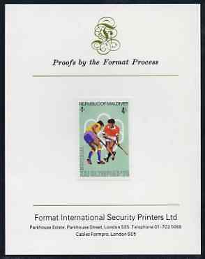 Maldive Islands 1976 Montreal Olympics 4l (Field-Hockey) imperf proof mounted on Format International proof card (as SG 657)