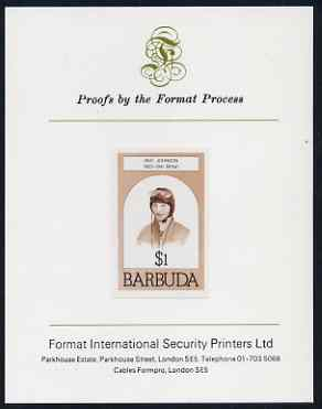Barbuda 1981 Amy Johnson $1 imperf proof mounted on Format International proof card (as SG 548)