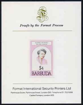 Barbuda 1981 Eleanor Roosevelt $4 imperf proof mounted on Format International proof card (as SG 549)