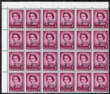 St Lucia 1967 unissued 1c with Statehood overprint in black, unmounted mint corner block of 24, one stamp with L flaw on R4/6