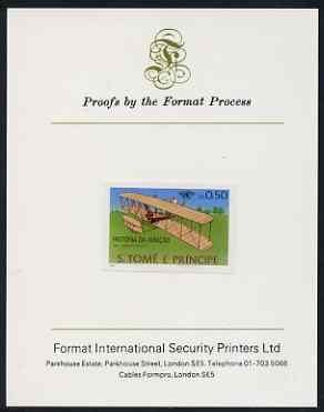 St Thomas & Prince Islands 1979 Aviation History 0.5Db (Wright Flyer 1) imperf proof mounted on Format International proof card
