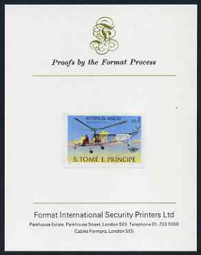 St Thomas & Prince Islands 1979 Aviation History 1Db (Sikorsky VS300) imperf proof mounted on Format International proof card