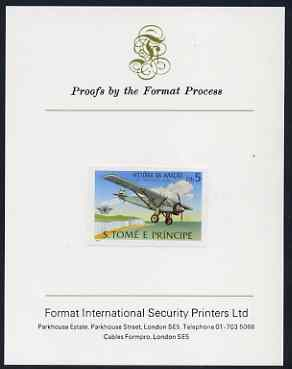 St Thomas & Prince Islands 1979 Aviation History 5Db (Spirit of St Louis) imperf proof mounted on Format International proof card