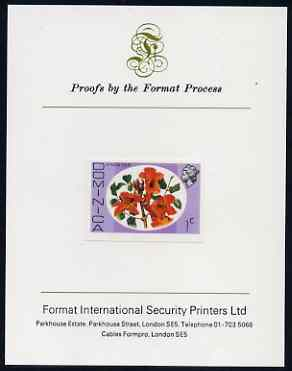 Dominica 1975-78 African Tulip 1c imperf proof mounted on Format International proof card (as SG 491)