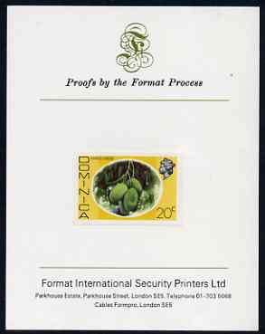 Dominica 1975-78 Mango Longue 20c imperf proof mounted on Format International proof card (as SG 499)