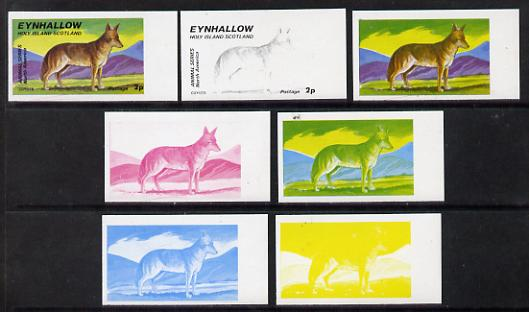 Eynhallow 1977 North American Animals 2p (Coyote) set of 7 imperf progressive colour proofs comprising the 4 individual colours plus 2, 3 and all 4-colour composites unmounted mint