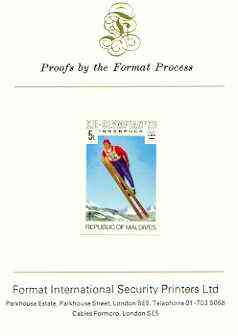 Maldive Islands 1976 Winter Olympics 5l (Ski Jumping) imperf proof mounted on Format International proof card (as SG 628)
