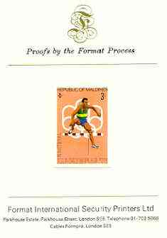 Maldive Islands 1976 Montreal Olympics 3l (Hurdling) imperf proof mounted on Format International proof card (as SG 656)