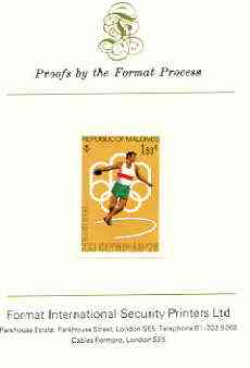 Maldive Islands 1976 Montreal Olympics 1r50 (Discus) imperf proof mounted on Format International proof card (as SG 660)