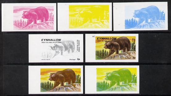 Eynhallow 1977 North American Animals 3p (Grizzly Bear) set of 7 imperf progressive colour proofs comprising the 4 individual colours plus 2, 3 and all 4-colour composites unmounted mint