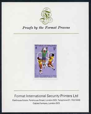 Maldive Islands 1976 Montreal Olympics 5r (Volleyball) imperf proof mounted on Format International proof card (as SG 661)