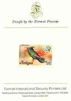 Antigua 1976 Crested Hummingbird 1/2c (without imprint) imperf proof mounted on Format International proof card (SG 469Avar)