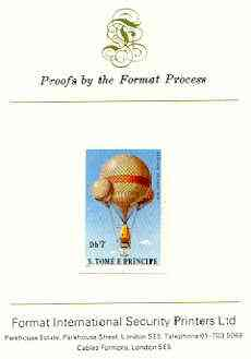 St Thomas & Prince Islands 1980 Balloons 7Db (John Wise) imperf proof mounted on Format International proof card