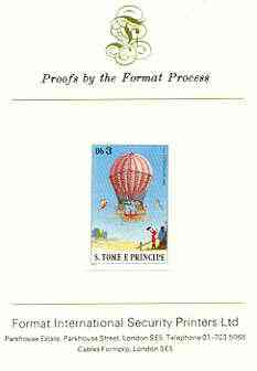 St Thomas & Prince Islands 1980 Balloons 3Db (Von L\9Ftgendorf) imperf proof mounted on Format International proof card