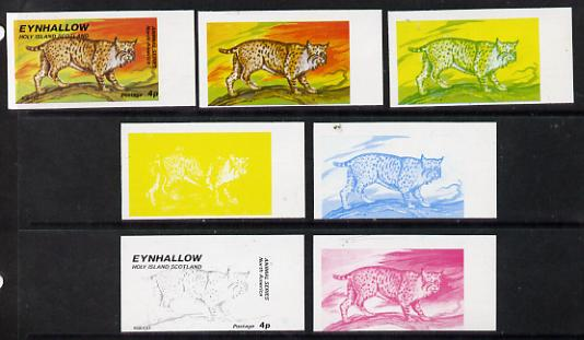 Eynhallow 1977 North American Animals 4p (Bob Cat) set of 7 imperf progressive colour proofs comprising the 4 individual colours plus 2, 3 and all 4-colour composites unmounted mint