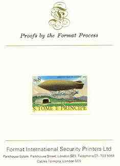St Thomas & Prince Islands 1980 Airships 8Db (Ville de Lucerne) imperf proof mounted on Format International proof card