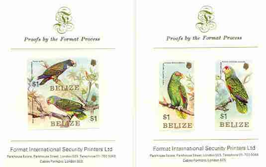 Belize 1984 Parrots set of 4 imperf proofs mounted on two Format International proof cards