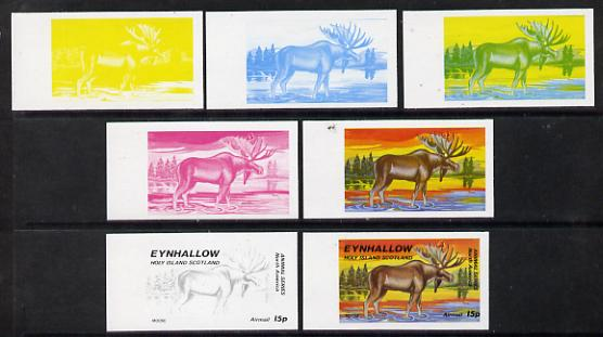 Eynhallow 1977 North American Animals 15p (Moose) set of 7 imperf progressive colour proofs comprising the 4 individual colours plus 2, 3 and all 4-colour composites unmounted mint