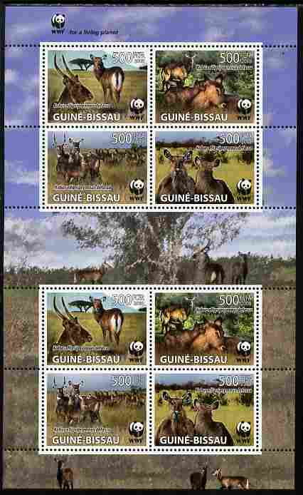 Guinea - Bissau 2008 WWF - Kobus perf sheetlet containing 2 x sets of 4 vaues unmounted mint as Michel 2626-49, stamps on animals, stamps on  wwf , stamps on antelope