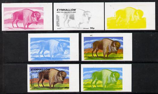 Eynhallow 1977 North American Animals 20p (Bison) set of 7 imperf progressive colour proofs comprising the 4 individual colours plus 2, 3 and all 4-colour composites unmounted mint