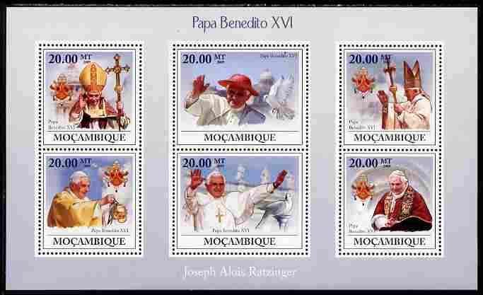 Mozambique 2009 Pope Benedict XVI perf sheetlet containing 6 vaues unmounted mint