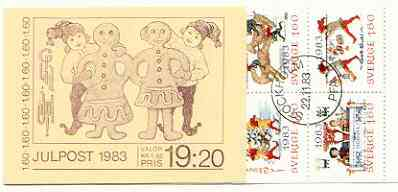 Booklet - Sweden 1983 Christmas (Chritmas Cards) 19k20 booklet complete with first day cancels, SG SB368