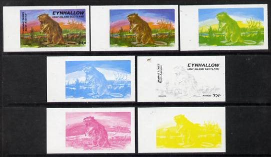 Eynhallow 1977 North American Animals 25p (Beaver) set of 7 imperf progressive colour proofs comprising the 4 individual colours plus 2, 3 and all 4-colour composites unmounted mint