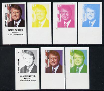 Staffa 1977 Carter/Mondale Inauguration 20p James Carter (President) set of 7 imperf progressive colour proofs comprising the 4 individual colours plus 2, 3 and all 4-colour composites unmounted mint
