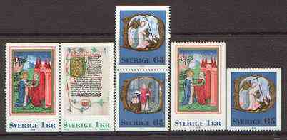 Booklet - Sweden 1976 Christmas (Book illustrations) set of 4 ex booklets plus additional 65� & 1k from coils (total 6 vals) unmounted mint SG 907-10