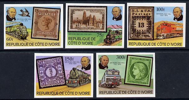 Ivory Coast 1979 Trains (Rowland Hill) imperf set of 5 vals unmounted mint