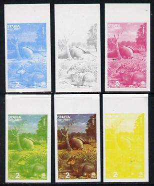 Staffa 1977 Wild Animals 2p (Mara & Anteater) set of 6 imperf progressive colour proofs comprising the 4 individual colours plus 2 and all 4-colour composites unmounted mint, stamps on animals