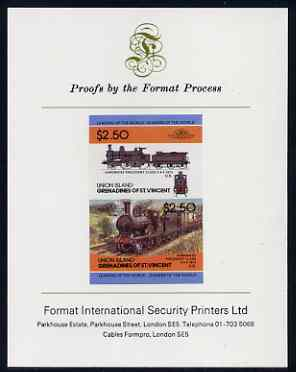 St Vincent - Union Island $2.50 Locomotive Hardwicke Precedent imperf se-tenant proof pair mounted on Format International proof card