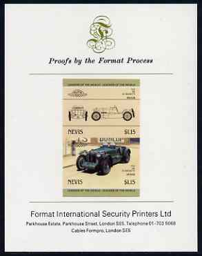 Nevis 1985 $1.15 MG K3 Magnette (1933) imperf se-tenant proof pair mounted on Format International proof card (as SG 332a)