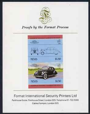 Nevis 1985 $1.50 Lincoln Zephyr (1937) imperf se-tenant proof pair mounted on Format International proof card (as SG 334a)