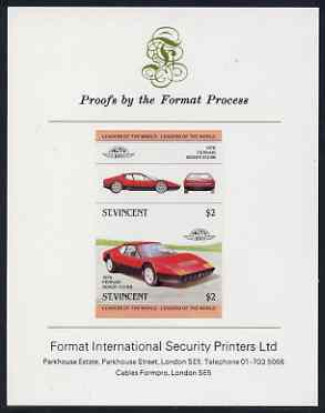 St Vincent 1983 $2 Ferrari Boxer  512BB (1976) imperf se-tenant proof pair mounted on Format International proof card (as SG 737a)