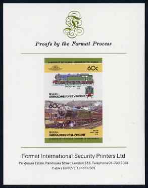 St Vincent - Bequia 60c Baltic (4-6-4T) imperf se-tenant proof pair mounted on Format International proof card