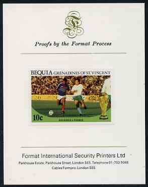 St Vincent - Bequia 1986 World Cup Football 10c (Bulgaria v France) imperf proof mounted on Format International proof card