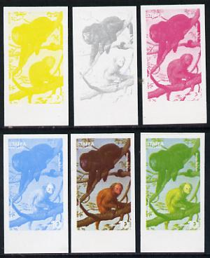 Staffa 1977 Wild Animals 10p (Red Faced Uakari & Howler Monkey) set of 6 imperf progressive colour proofs comprising the 4 individual colours plus 2 and all 4-colour composites unmounted mint