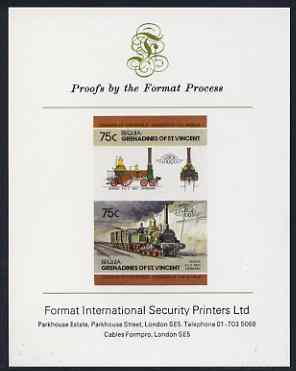 St Vincent - Bequia 1984 Locomotives #2 (Leaders of the World) 75c (4-4-2 Borsig) imperf se-tenant proof pair mounted on Format International proof card
